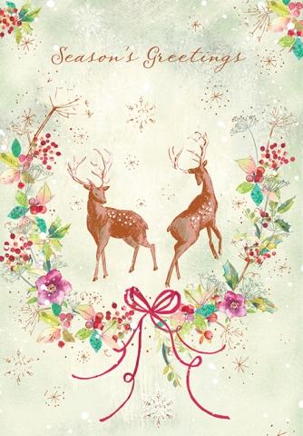 Deer in winter wreath