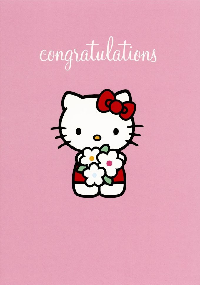 Hello kitty greeting card from pink greene kitty congratulations m4hsunfo