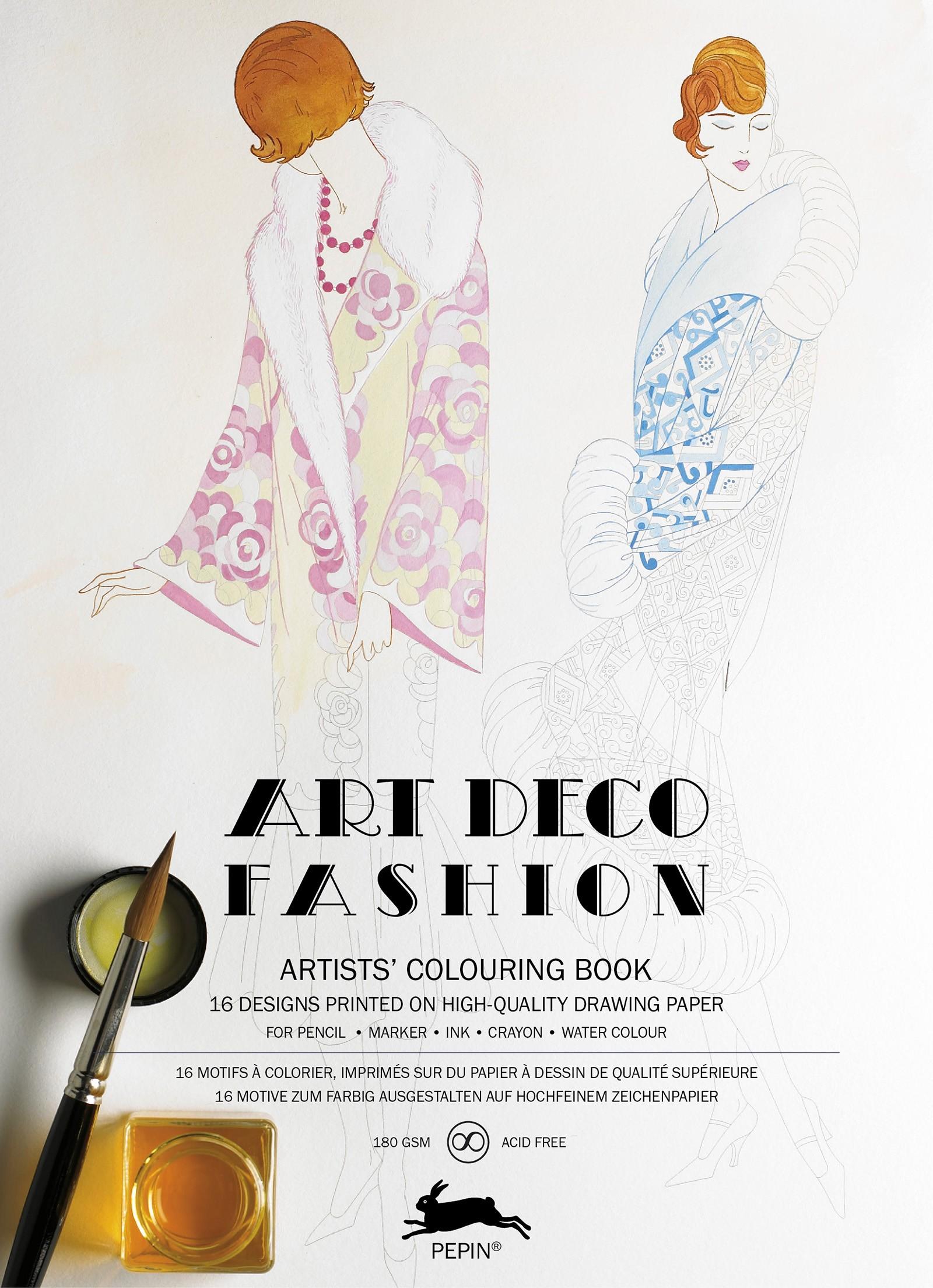 Fashion Books 2017: Art Deco Fashion Artists' Colouring Book By Pepin Press