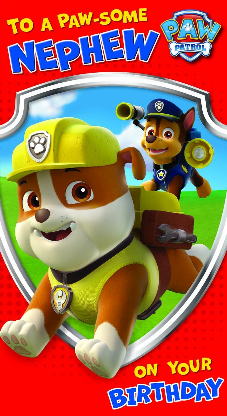 a birthday card from the paw patrol seriespink  greene