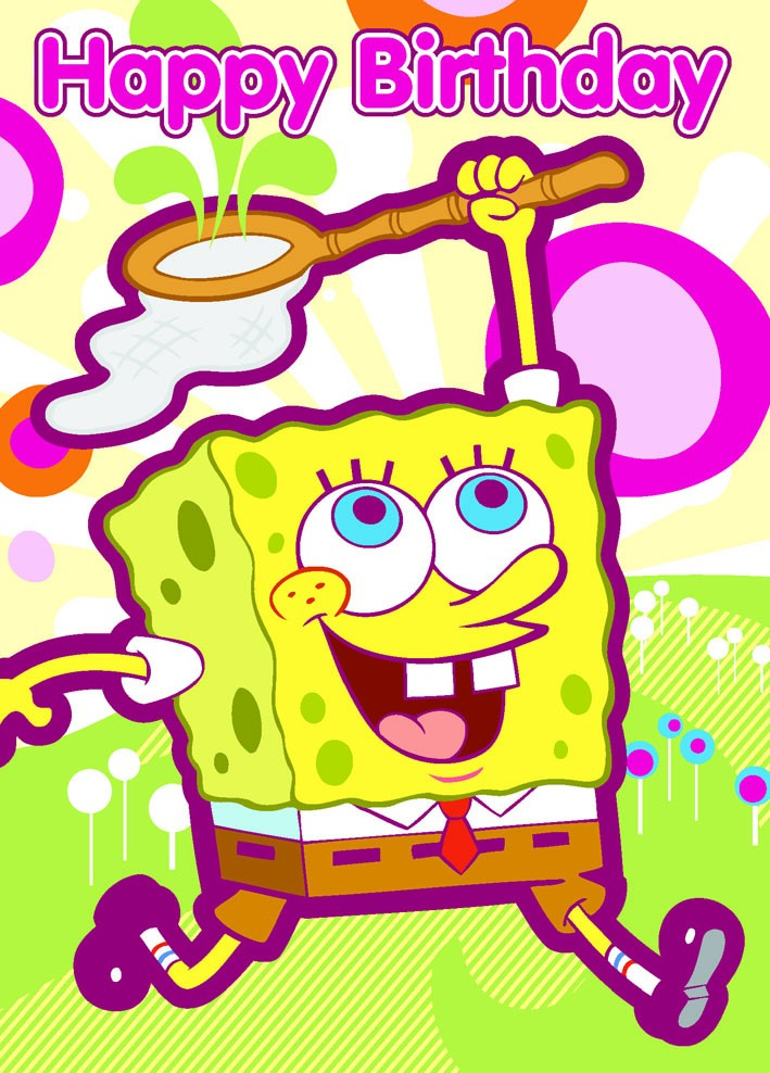 a bright and busy spongebob squarepants birthday card from