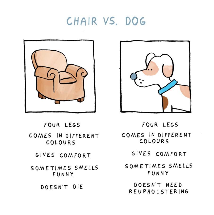Urban graphic cartoon on a blank card for Chair vs chairman