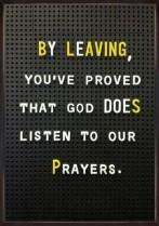 Leaving prayers