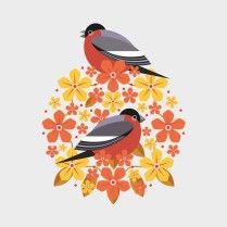 Bullfinch and blooms