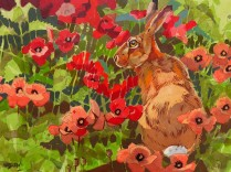 Hare and poppies