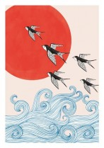 Swallows and red sun